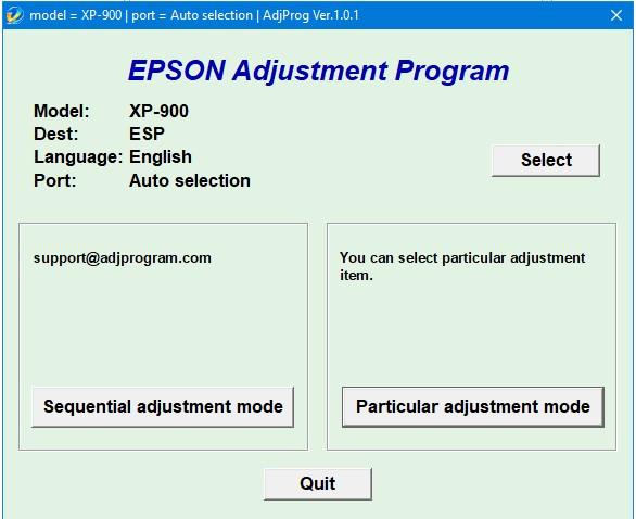Epson XP 900 Adjustment Program