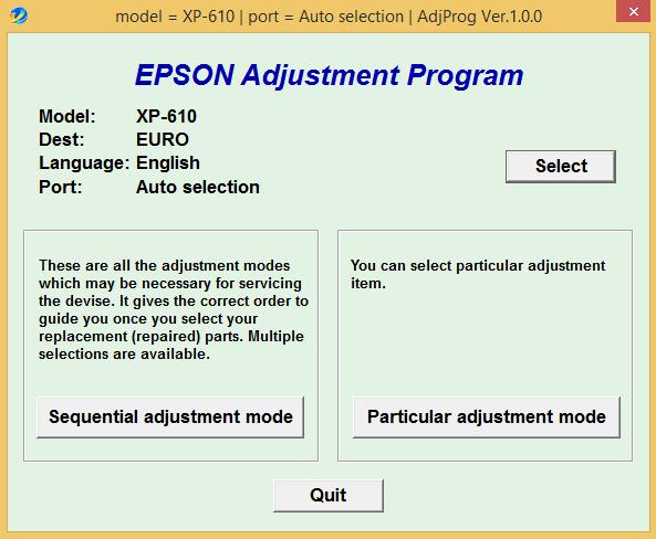 Epson XP 610 Adjustment Program